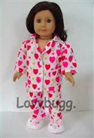 Pink/Red on White Heart Pajamas 18 inch American Girl Doll Clothes