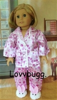 Lavender Satin Heart Pajamas 18 inch American Girl Doll Clothes