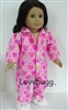 Pink Satin Heart Pajamas 18 inch American Girl Doll Clothes
