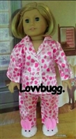Pink Heart Satin Pajamas 18 inch American Girl Doll Clothes