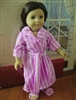 Lavender Stripes Bathrobe with Slippers 18 inch American Girl or 15 inch Baby Doll Clothes