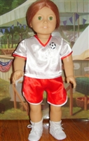 SUPER SALE Red Soccer Uniform 18 inch American Girl or 15 inch Baby Doll Clothes