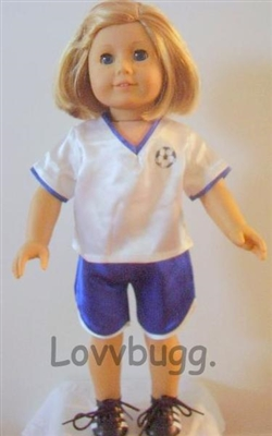 SUPER SALE Blue Soccer Uniform 18 inch American Girl or 15 inch Baby Doll Clothes