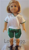 SUPER SALE Green Soccer Uniform 18 inch American Girl or 15 inch Baby Doll Clothes