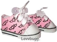 Pink Flying Hearts Sneakers 18 inch Girl or 15 inch Baby Doll Shoes