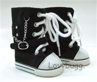Black Knee High Sneakers Goth Boots 18 inch American Girl or 15 inch Baby Doll Shoes