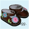 Brown Flowery Mary Janes 18 inch Girl or 15 inch Baby Doll Shoes