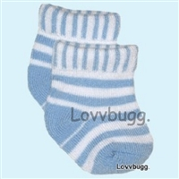 Blue Striped Doll Socks 18 inch Girl or 15 inch Baby Doll Clothes Accessory