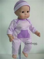 Lavender Stripes Long Onesie and Hat 15 inch Bitty Baby Doll Clothes