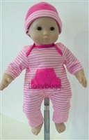 Hot Pink Stripes Long Onesie and Hat 15 inch Bitty Baby Doll Clothes