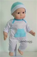 Blue Stripes Long Onesie and Hat 15 inch Bitty Baby Doll Clothes