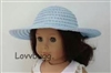 Baby Blue Straw Hat 18 inch American Girl or Bitty Baby Doll Clothes Accessory