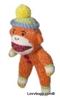 Orange Sock Monkey Mini Girl Doll Accessory