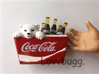 Cooler of Cokes with Bear Coca Cola Mini 18 inch American Girl Doll Accessory
