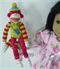 Sock Monkey Red/Yellow New Cute 18 inch American Girl Doll Accessory