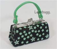 SALE Green Stars Kiss Lock Purse Bag 18 inch American Girl Doll Clothes Doll Accessory
