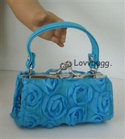 SALE Blue 3D Roses Kiss-Lock Purse 18 inch American Girl Doll Clothes Doll Accessory