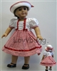 Red Gingham and Bows Dress with Hat 18 inch American Girl or Bitty Baby Doll Clothes