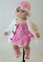 Pink Gingham Swimsuit with Robe Sandals Hat 15 inch Bitty Baby Doll Clothes