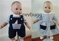 Both Navy Sailboat Outfits 15 inch Bitty Twins Baby Doll Clothes