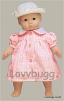 Pink Tattersall Plaid Dress 15 inch Bitty Baby Doll Clothes