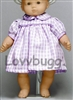 Lavender Tattersal Plaid Dress 15 inch Bitty Baby Doll Clothes