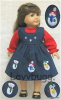 Snowman Denim Jumper 15 inch Bitty Baby Doll Clothes