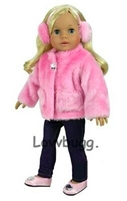 Pink Jacket with Earmuffs 18 inch Girl or Bitty Baby Doll Clothes