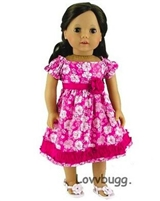 SALE Hot Pink Calico Dress 18 inch American Girl or Bitty Baby Doll Clothes