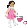 Pink Ice Skating Dress Outfit 18 inch American Girl or Bitty Baby Doll Clothes