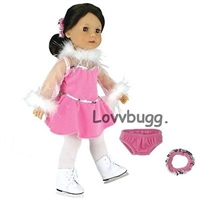 "Lovvbugg Pink Ice Skating Outfit Dress for 18"" American Girl Doll Clothes"