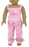 SALE Love Heart Pajamas 18 inch American Girl Doll Clothes
