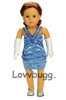 "Ruched Blue Satin Dress with Gloves for 18"" American Girl Doll Clothes"
