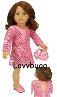 SALE Pink Sequins Dress with Purse 18 inch American Girl Doll Clothes