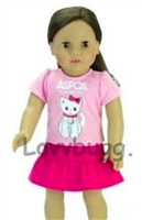 Cat Kitten Skirt Set 18 inch American Girl or Baby Doll Clothes
