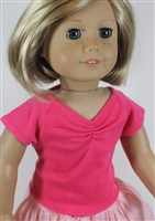 Red Cinched T Shirt Top Blouse 18 inch Girl or Baby Doll Clothes