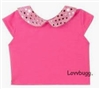 Pink Sequins Collar T Shirt Top 18 inch American Girl or Baby Doll Clothes