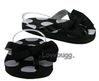 DISC Black Spots Dots Flip Flops 18 inch Girl or Bitty Baby 15 inch Doll Shoes