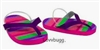 Pink Multi Stripes Flip Flops 18 inch Girl or Bitty Baby 15 inch Doll Shoes