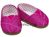 Hot Pink Glitter Sparkle Canvas Tomsy Sneakers 18 inch Girl or Bitty Baby 15 inch Doll Shoes