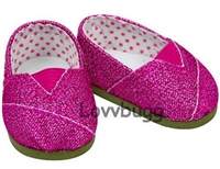 Hot Pink Glitter Sparkle Canvas Tomsy Sneakers 18 inch American Girl or Bitty Baby 15 inch Doll Shoes