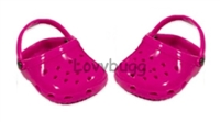 DISC Hot Pink Clogs Sandals 18 inch Girl or Bitty Baby 15 inch Doll Shoes