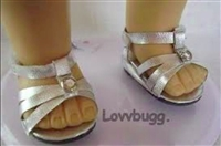 Silver Sandals 18 inch Girl or Bitty Baby 15 inch Doll Shoes