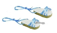 Blue Ribbon Sandals Espadrilles 18 inch Girl or Bitty Baby 15 inch Doll Shoes