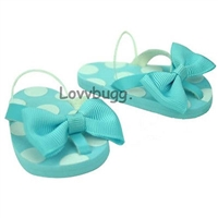 Blue Bow Flip Flops 18 inch Girl or Bitty Baby 15 inch Doll Shoes