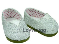 Silver Glitter Sparkle Canvas Tomsy Sneakers 18 inch Girl or Bitty Baby 15 inch Doll Shoes