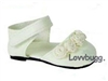 Ivory Flower Shoes 18 inch Girl or Bitty Baby Doll