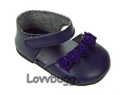 Navy Blue Flower Shoes 18 inch Girl or Bitty Baby Doll