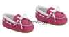 SALE Hot Pink Suede Moccasins Slippers 18 inch Girl or Bitty Baby Doll Shoes