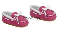 Hot Pink Suede Moccasins Slippers 18 inch American Girl or Bitty Baby Doll Shoes